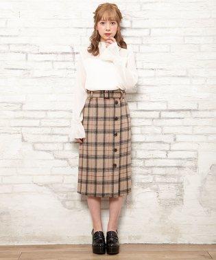 ベルト付シャギーチェックナロー/スカート