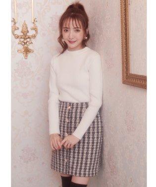 ファンシーツイードビジュー台形スカート