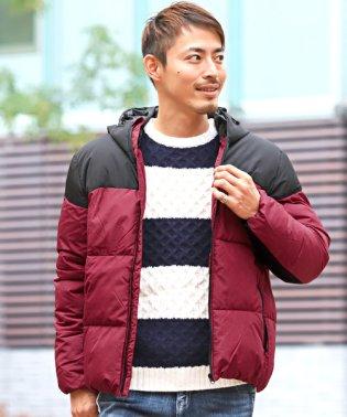 カラー切り替え中綿ブルゾン/中綿ジャケット ブルゾン カラー 切り替え 冬