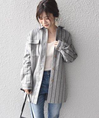 《予約》Khaju:ストライプシャツジャケット