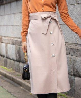 ウエストりぼん付きフラワービジュー装飾2WAYラップ風ジャンパースカート