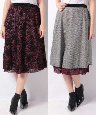 花柄×グレンチェックリバーシブルスカート