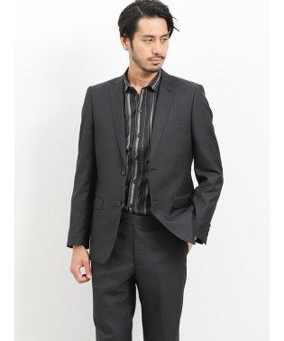 光沢スリムフィット2ピーススーツ ツイルシャドーウィンドペン黒