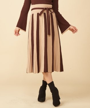 配色プリーツロングニットスカート
