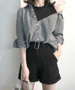 レイヤードスタイルオフショルシャツ