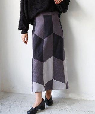 パッチワークセミタイトスカート