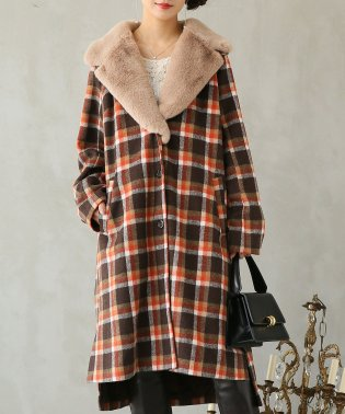 『somariファー衿付きチェック柄メルトンコート』