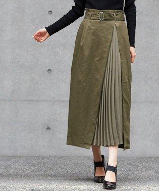 ツイル×プリーツ切替スカート