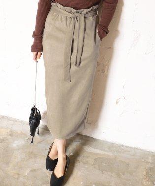 スウェード風Iラインタイトスカート
