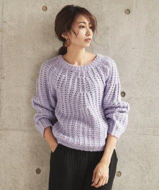 手編み風ざっくりニットプルオーバー
