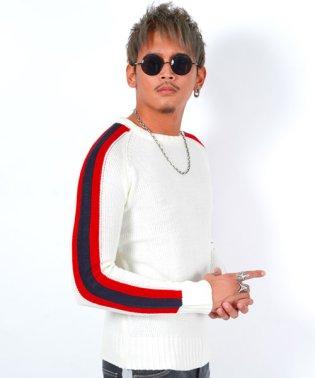 袖ラインクルーネックニット/ニット メンズ セーター 袖 ライン サイドライン