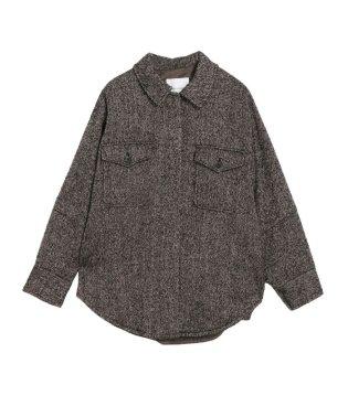 ヘリンボンツィードシャツコート