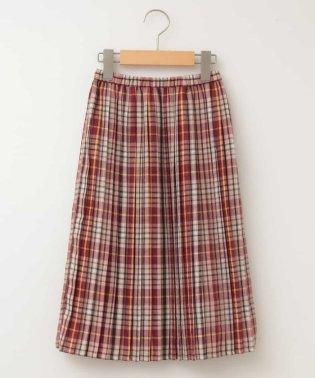 【午後の紅茶×a.v.v】[140-150]ラテチェックプリーツスカート