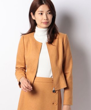 【セットアップ対応商品】ストレッチツィード 裾フレアージャケット