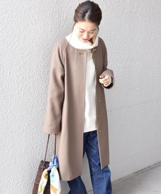 ウールナイロンフーデッドコート◇