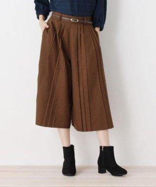 ベルト付プリ-ツ半端丈パンツ