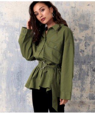 ベルト付ビッグポケットツイルシャツジャケット