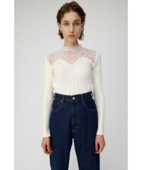 LACE KNIT COMBI トップス
