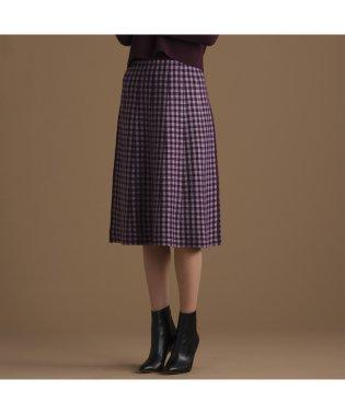 ブロックチェックと無地のリバーシブルニットスカート