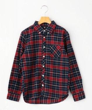 SHIPS KIDS:ネル チェック ボタンダウン シャツ(145~160cm)