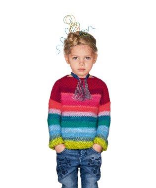 裏編みカラフルボーダーニット・セーター