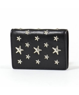 JAXI CST レザー スタースタッズ 二つ折り財布 ミニ財布 豆財布 BLACK レディース