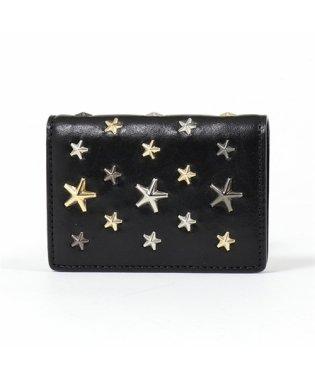 JAXI LTR レザー スタースタッズ 二つ折り財布 ミニ財布 豆財布 BLACK/METALLIC-MIX レディース