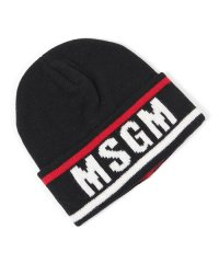 2740 ML10 カシミヤ混 ウール ニットキャップ ニット帽 リブ 帽子 ロゴ 99/ブラック他 メンズ
