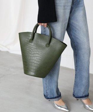 【WEB限定】◆便利なポーチ付◆クロコ型押しバケツトートバッグ