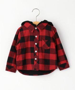 SHIPS KIDS:フード付き ネルチェック シャツ(80~90cm)