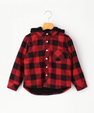 SHIPS KIDS:フード付き ネルチェック シャツ(100~130cm)