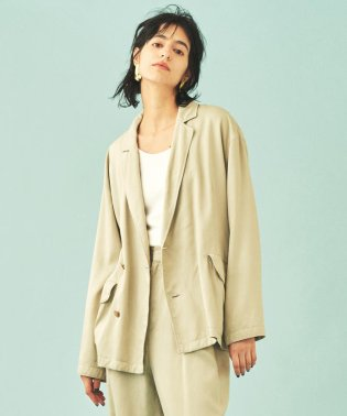 【セットアップ対応商品】リヨセルギャバジン アシンメトリービッグジャケット
