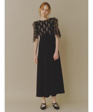 フリル袖切り替えドレス