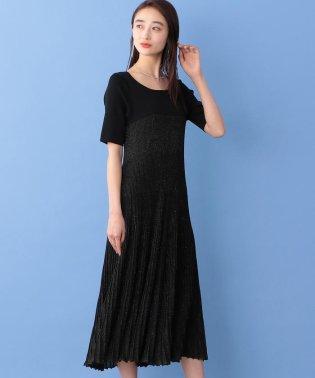 ラメニット プリーツドレス