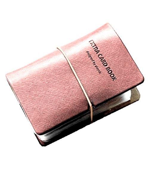 (exrevo/エクレボ)カードケース 名刺入れ レディース 縦入れ 30ポケット 両面収納 大量収納 クリア シンプル 革 レザー ポイントカード インデックス付 かわいい ギフト/ユニセックス ライトピンク
