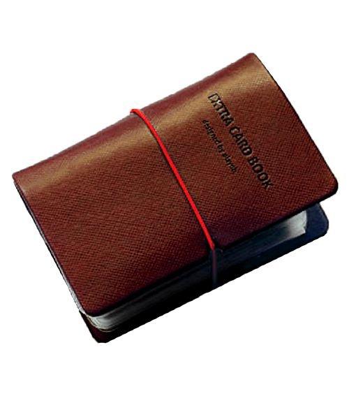 (exrevo/エクレボ)カードケース 名刺入れ レディース 縦入れ 30ポケット 両面収納 大量収納 クリア シンプル 革 レザー ポイントカード インデックス付 かわいい ギフト/ユニセックス ブラウン