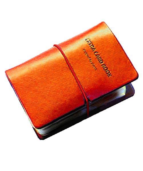 (exrevo/エクレボ)カードケース 名刺入れ レディース 縦入れ 30ポケット 両面収納 大量収納 クリア シンプル 革 レザー ポイントカード インデックス付 かわいい ギフト/ユニセックス オレンジ