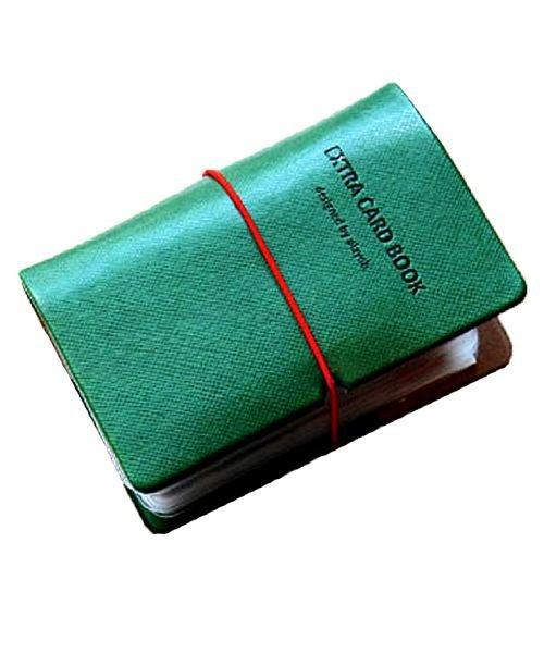 (exrevo/エクレボ)カードケース 名刺入れ レディース 縦入れ 30ポケット 両面収納 大量収納 クリア シンプル 革 レザー ポイントカード インデックス付 かわいい ギフト/ユニセックス グリーン