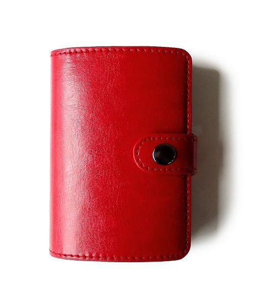 (exrevo/エクレボ)カードケース 「スキミング防止 アルミ レザー マネークリップ スライド クレジットカード ケース」 スリム メンズ 財布 小銭入れ 磁気防止 コンパクト 革/ユニセックス レッド