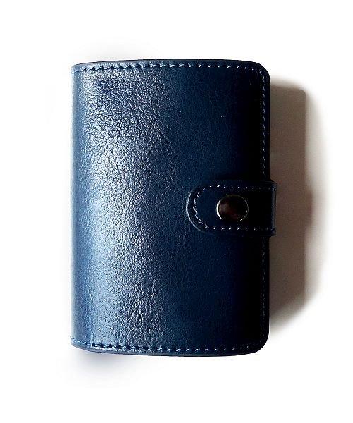 (exrevo/エクレボ)カードケース 「スキミング防止 アルミ レザー マネークリップ スライド クレジットカード ケース」 スリム メンズ 財布 小銭入れ 磁気防止 コンパクト 革/ユニセックス ネイビー