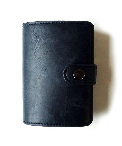 (exrevo/エクレボ)クレジットカードケース 「スキミング防止 マネークリップ アルミ レザー スライド カードケース」 スリム メンズ 財布 小銭入れ 磁気防止 コンパクト 革 カ/ユニセックス ネイビー