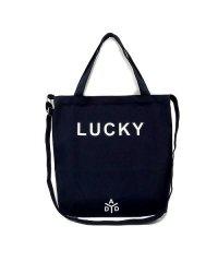 トートバッグ キャンバス生地 ショルダーバッグ レディース 斜めがけ 「2way lucky ロゴ キャンバス トート バッグ」 斜め掛けバッグ バッグ 大容量