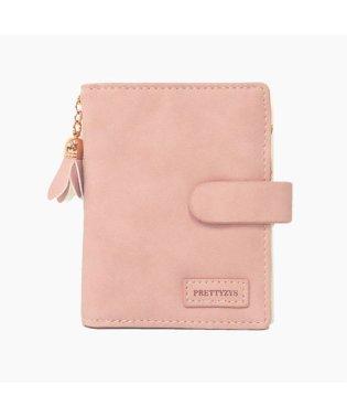 【財布 レディース 二つ折り】「2つ折り タッセル チャーム ミニ財布」女性用 カード収納 定期入れ 二つ折り財布 小銭入れあり ピンク かわいい プレゼント