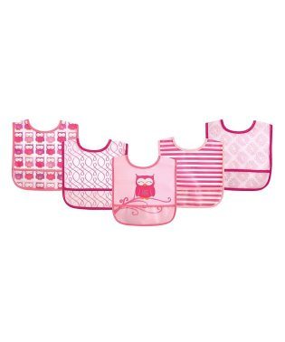 Luvable Friends ラバブルフレンズ ポケット付き 防水エプロン 5枚セット ピンク オウル