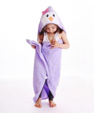 Luvable Friends ラバブルフレンズ アニマルフェイスフード付きバスタオル パープルペンギン