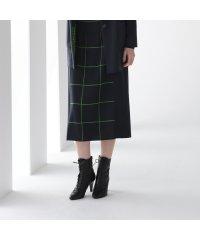 チェック切替 ニットスカート
