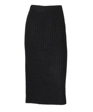 バックスリット入りリブニットタイトスカート
