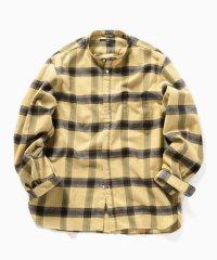 SC: チェック バンドカラー ネルシャツ