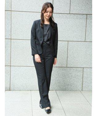 高機能ポリエステル 1釦ジャケット+スカート+スラックス シャドーストライプ黒