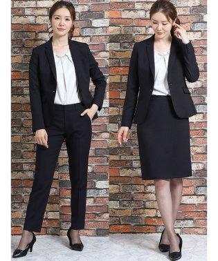 高機能ポリエステル 1釦ジャケット+スカート+スラックス ストライプ紺